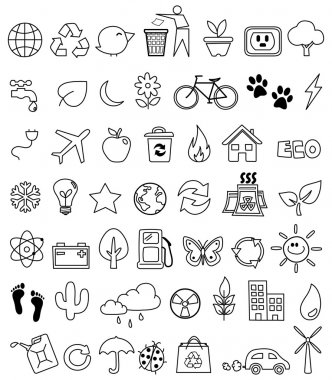 Eco doodle icon set stock vector