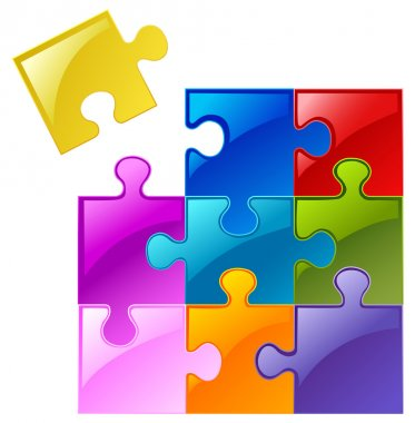 Colorful puzzle clip art vector