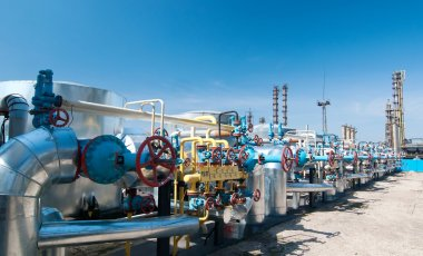 Gas industry. row gas valves