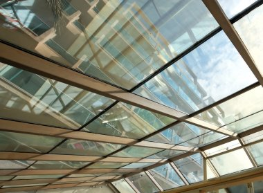 Futuristic architecture inside contemporary business hallway, ai
