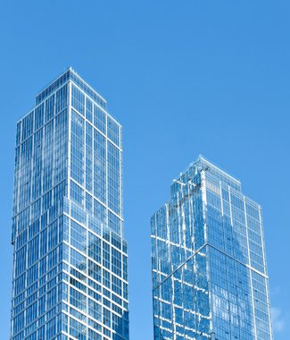 New modern glass silhouettes of skyscrapers