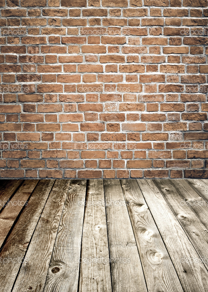 Red Brick Wall And Wooden Floor Rural Interior Stock Photo