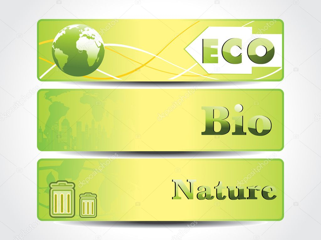 Vector set of three ecology concept banner