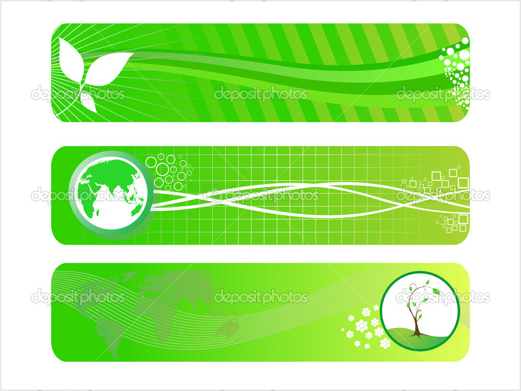 vector set of three go green header