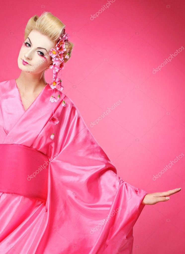 Beautiful dancing geisha– stock image
