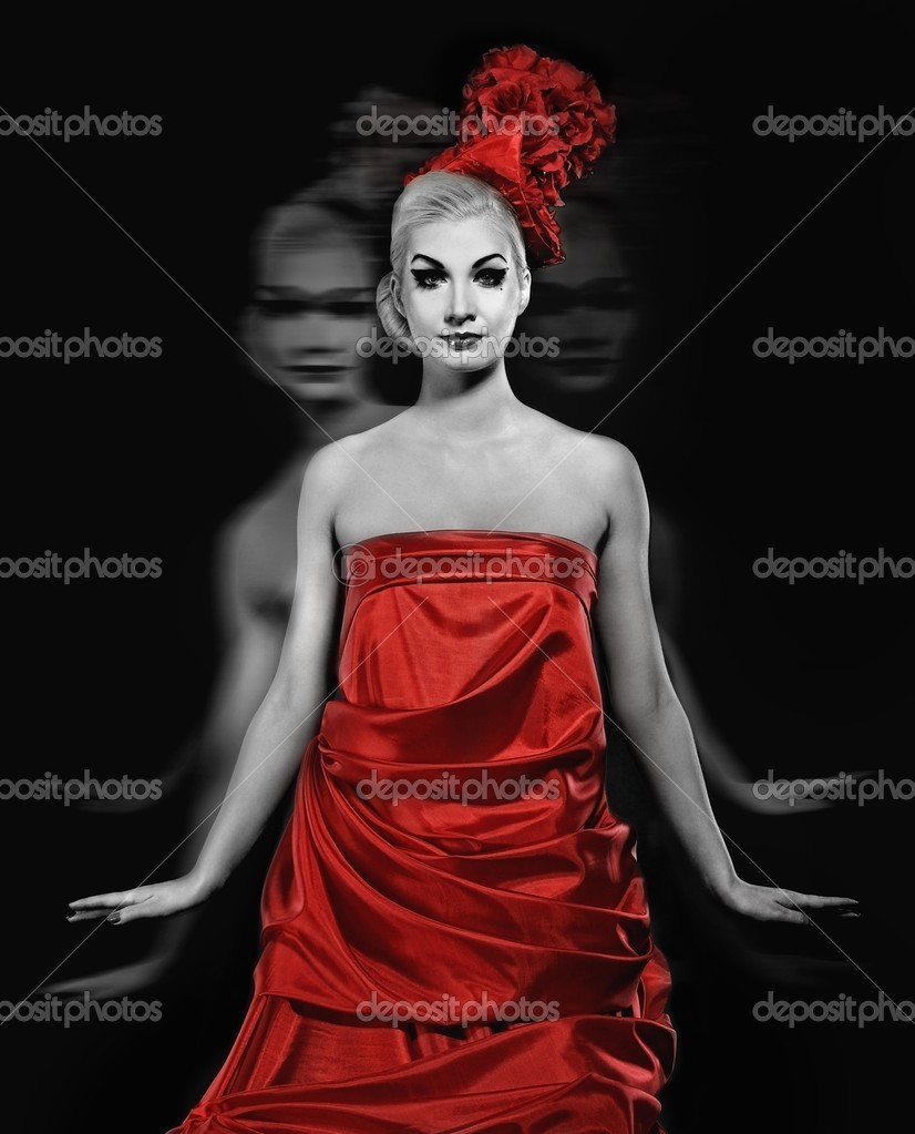 27487f41dd0 Lady ghost in red dress — Stock Photo © nejron  5518175