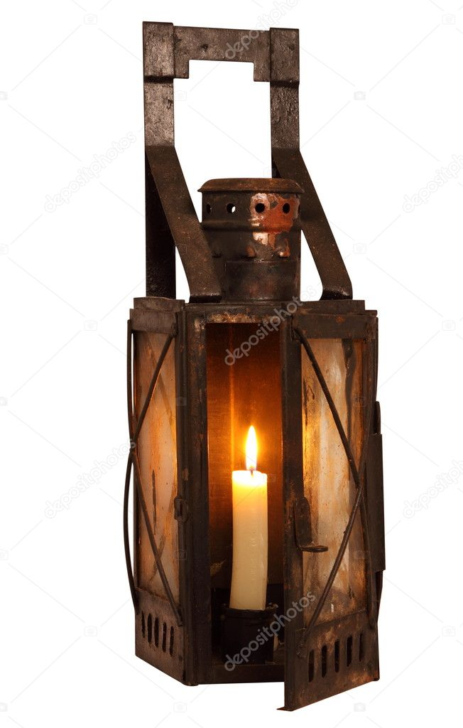 Old Lamp With Burning Candle U2014 Stock Photo