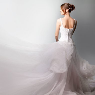 Beautiful bride in a luxurious wedding dress