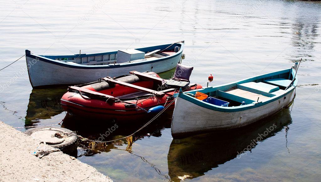Boats coasted at the sea coast