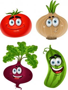 Funny cartoon cute vegetables - tomato, beet, cucumber, onion