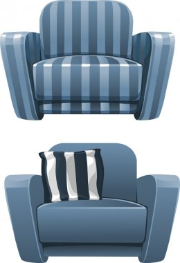 Blue soft stripped armchair