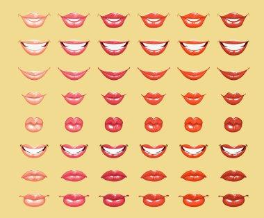 Glamorous glossy shining female lips in light orange colors