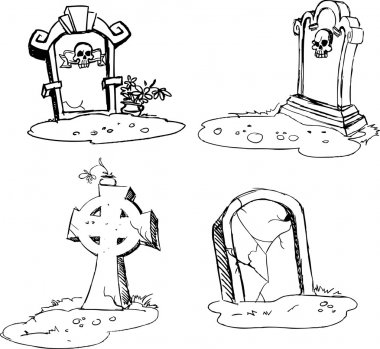 Scary tombstones in Halloween night. outlines stock vector