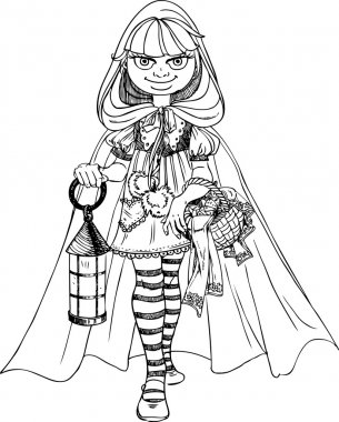Cute Little Red Riding Hood with a basket of pies