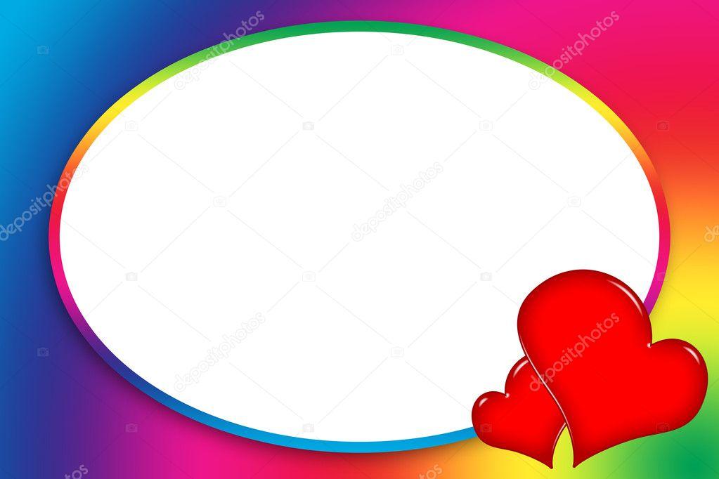 bunte Liebe Frame mit Herzen — Stockfoto © Skovoroda #5765082