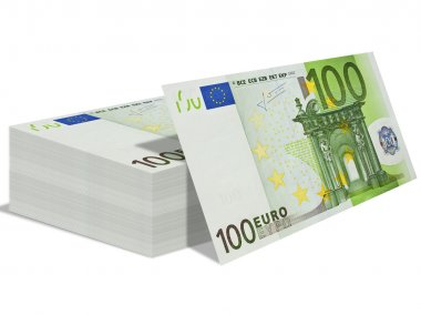 Pack of the bills by euro value in one hundred