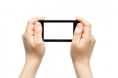 Holding smart phone, playing games