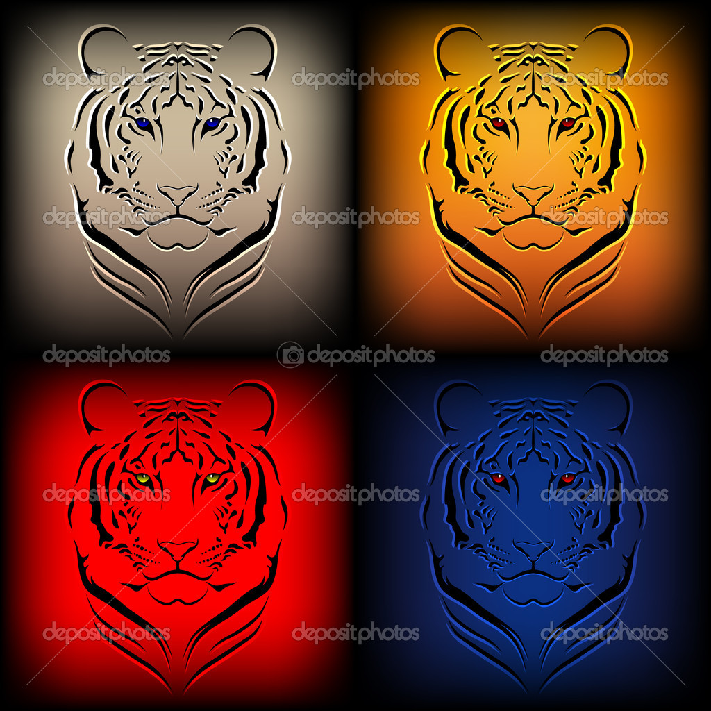 Set of vector tigers in various colors