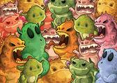 Fényképek Aranyos szörnyek mintás háttérrel