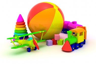 Plane, train, pyramid and ball