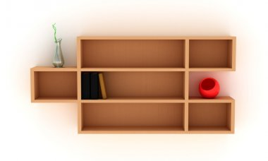 Shelves with books and vases