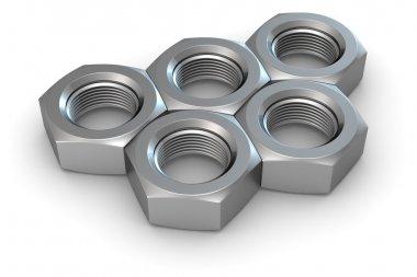 Five metal nuts