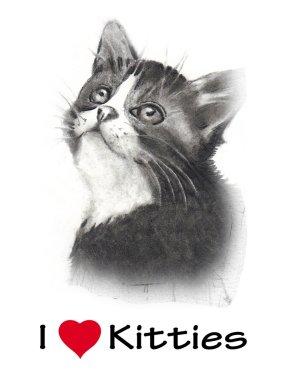 I Love Kitties, Realism Pencil Drawing