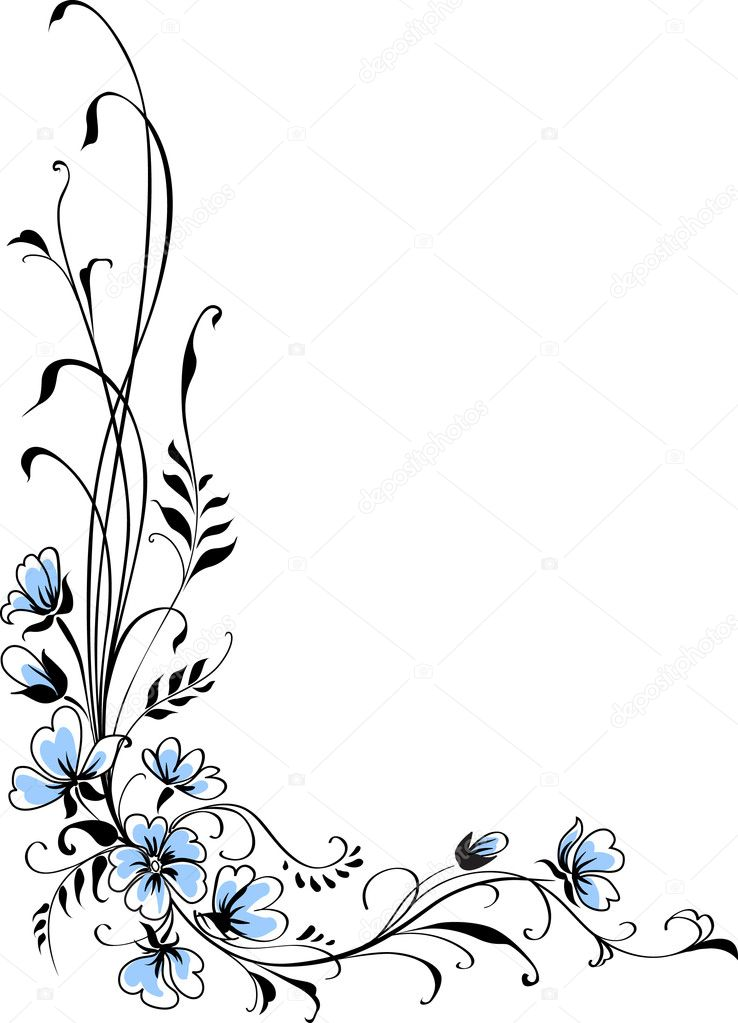 Floral background blue flower vector