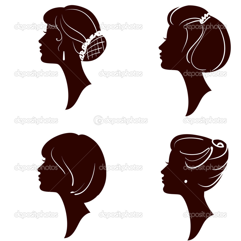 Vector beautiful women and girl silhouettes with different hairs