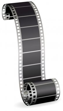 Twisted film strip roll for photo or video on white background v