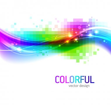"""Картина, постер, плакат, фотообои """"Абстрактный фон с цветной волной"""", артикул 5403703"""