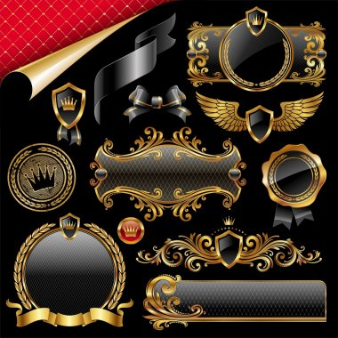 Set of royal gold and black design elements stock vector