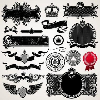 Set of royal ornate frames and elements