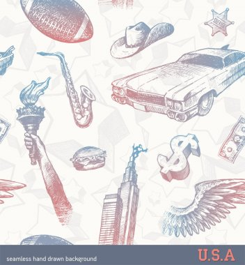 USA signs & symbols - seamless background