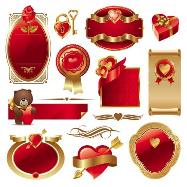 Valentines vector set with ornate golden luxury frames, hearts and other design elements clip art vector