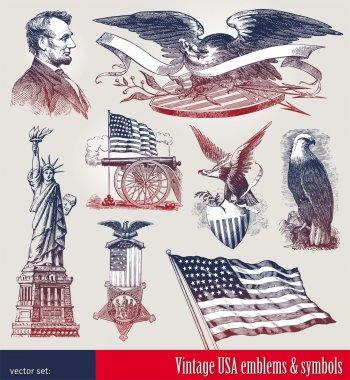 Vector set of american patriotic emblems & symbols stock vector
