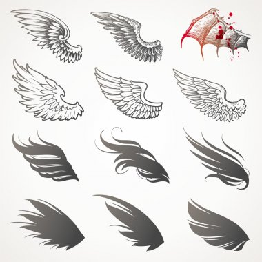 Vector set of wings stock vector