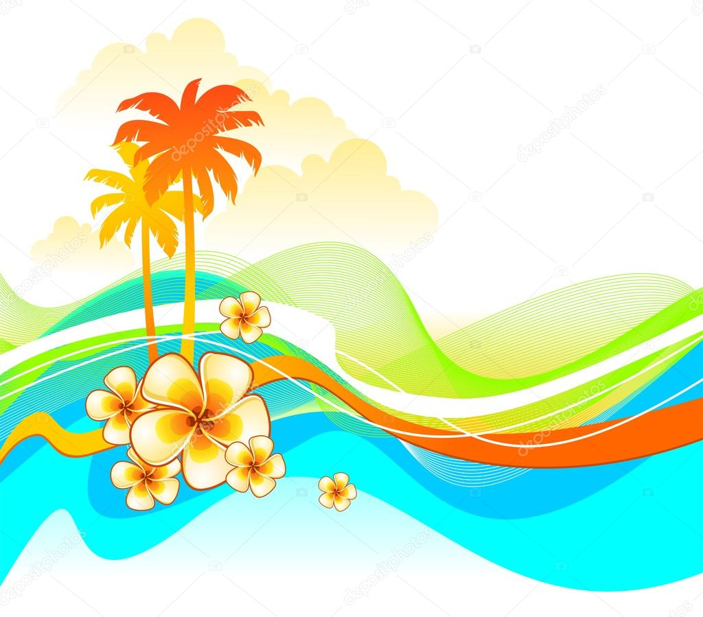 Abstract tropical landscape with flowers