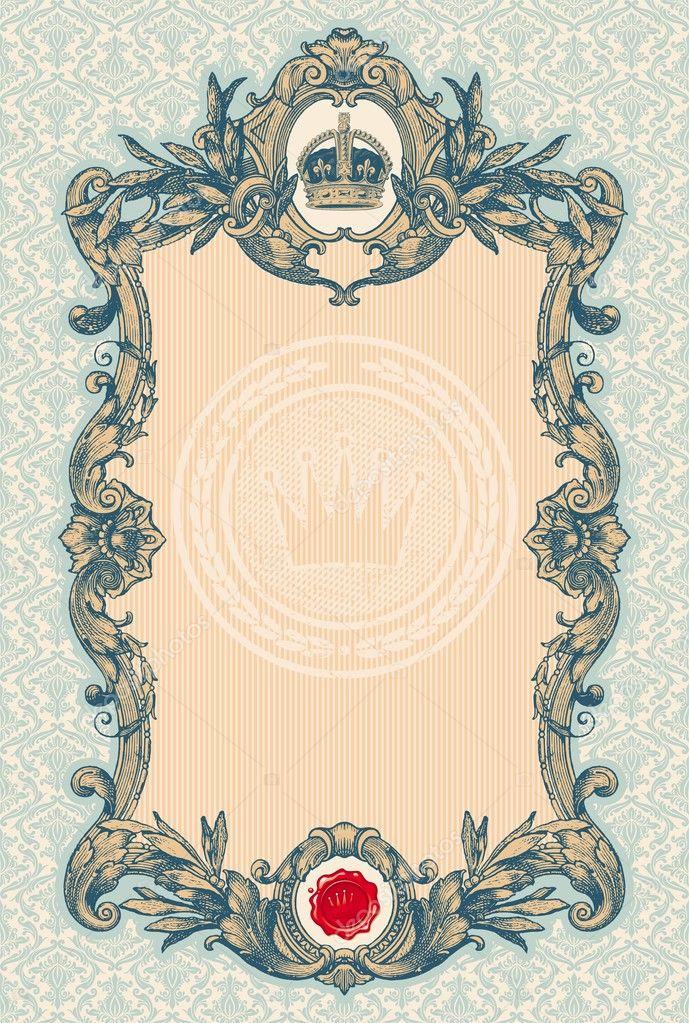 marco decorativo vintage grabado — Archivo Imágenes Vectoriales ...