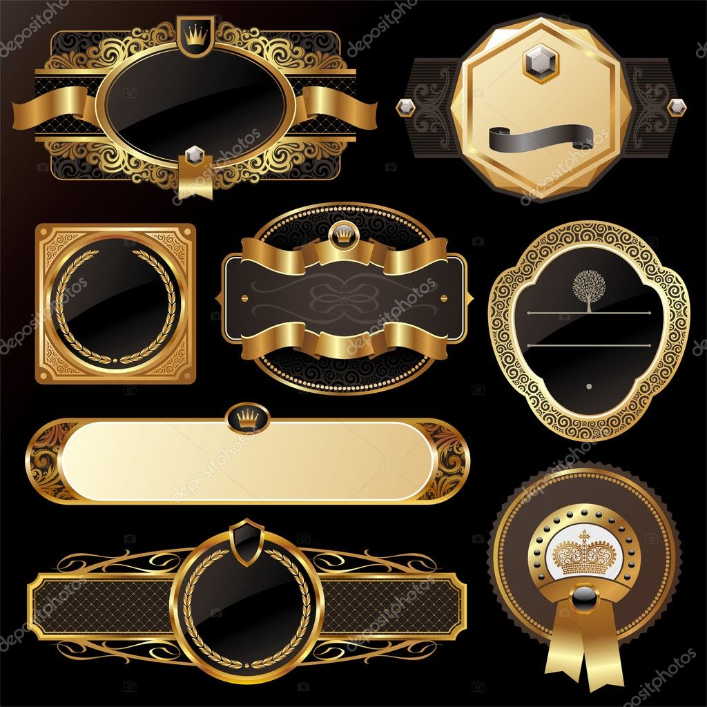 Set of golden luxury ornate frames