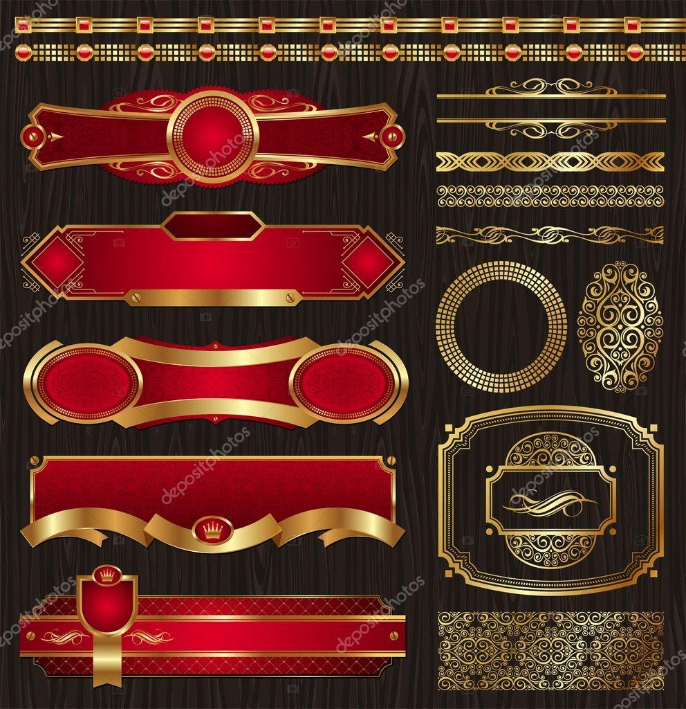 Conjunto de etiquetas de oro enmarcadas y patrones — Vector de stock ...