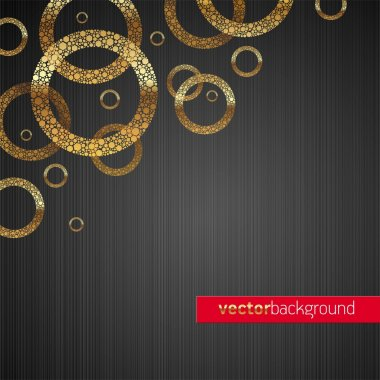 Abstract vector metal texture background with golden circles