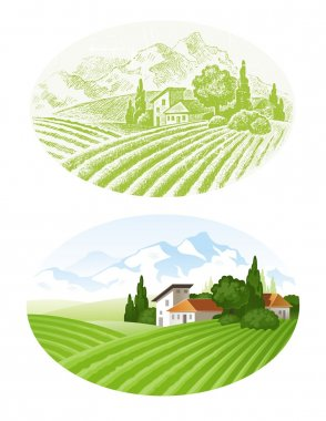 Hand drawn vector landscape with agrarian fields, village and mounains stock vector