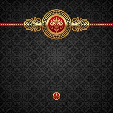 Vector decorative ornamental background with golden elements clip art vector
