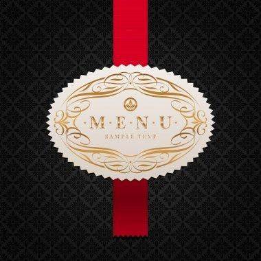Vector pattern background with framed ornate menu label