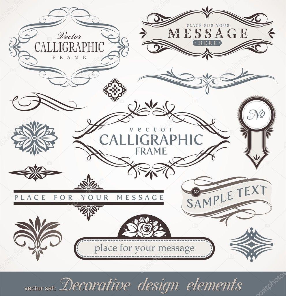 Vector decorative calligraphic design elements & page decor
