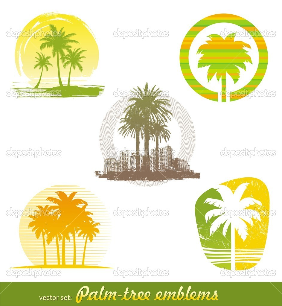 Vector set - palm tree emblems & labels