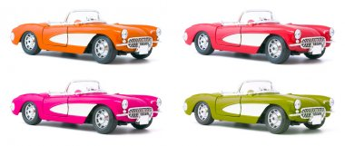 Set of four toy model cars