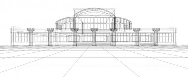 Abstract sketch of office building