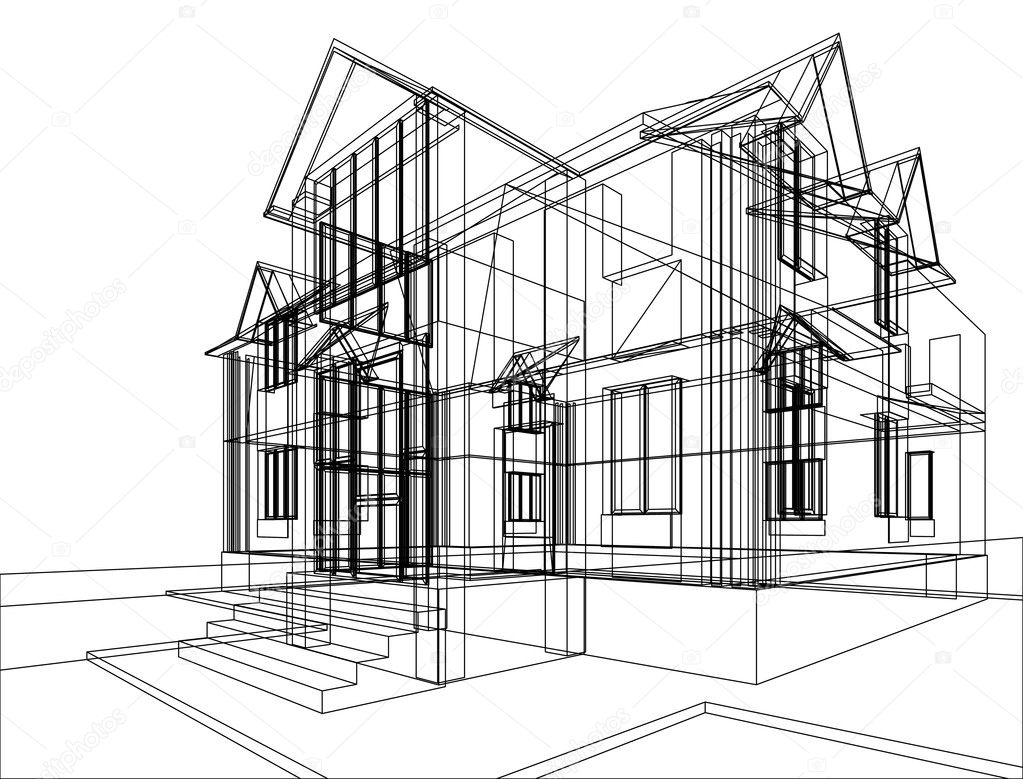 Abstract sketch of house. Illustration of 3d construction stock vector